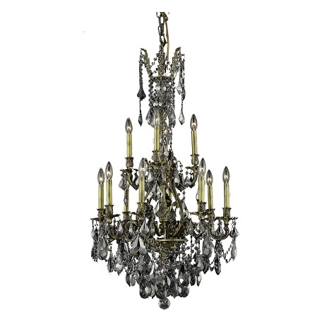 Elegant Lighting Royal Cut Grey Silver Shade Crystal Monarch 12-Light