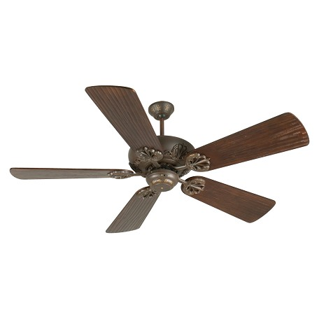 "Craftmade Aged Bronze Cordova Ceiling Fan With Five 54"" Hand-Scraped Walnut Blades"