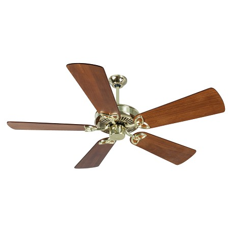 "Craftmade Cxl Ceiling Fan In Polished Brass With 54"" Premier Distressed Teak Blades"