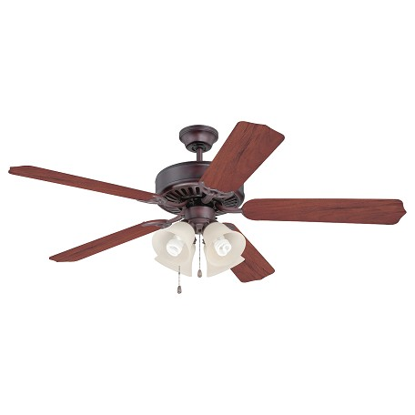 Craftmade 5 Blade Indoor Ceiling Fan - Includes Blades And Light Kit, Oiled Bronze