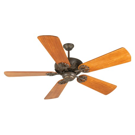 "Craftmade Cordova Ceiling Fan With Five 54"" Premier Hand-Scraped Teak Bla, Aged Bronze"