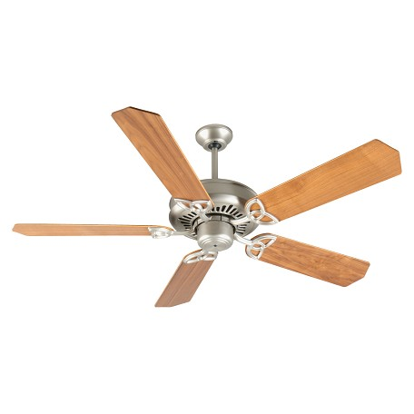 "Craftmade Rushed Nickel American Tradition Ceiling Fan With Five 52"" Custom Walnut Blades"