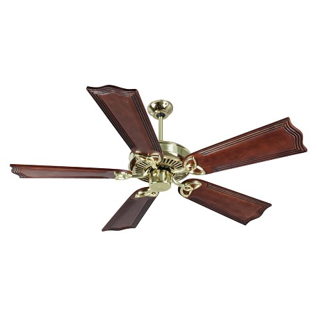 "Craftmade Cxl Ceiling Fan With Five 56"" Custom Carved Wellington Mahogany, Polished Brass"