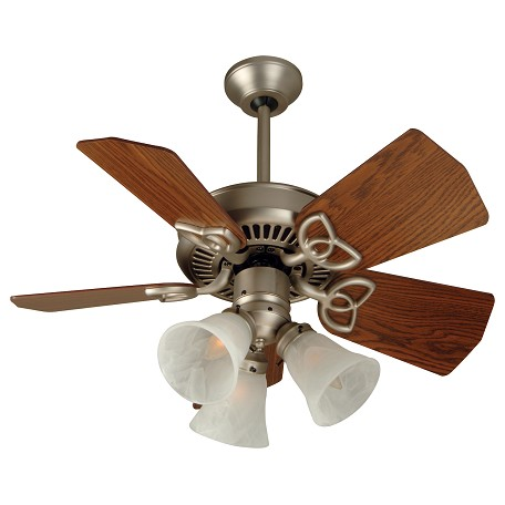 "Craftmade Brushed Nickel Piccolo Indoor Ceiling Fan Includes 5 29"" Dark Oak Blades"