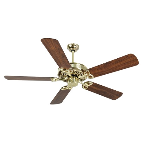 "Craftmade Ceiling Fan With Five 52"" Plus Series Walnut Blades, Polished Brass"
