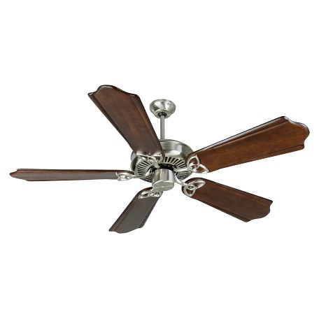 "Craftmade Stainless Steel Cxl Ceiling Fan With Five 56"" Custom Carved Classic Ebony Blades"