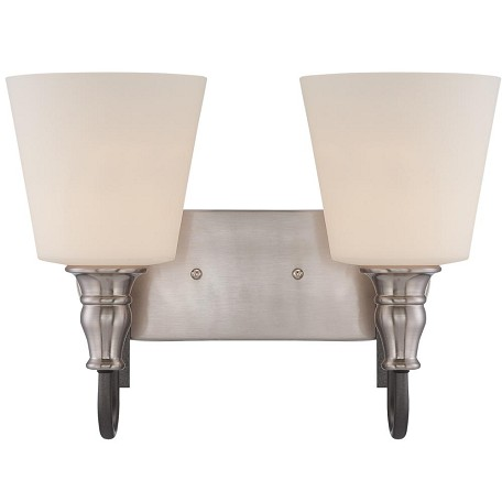 Craftmade Two Light Hammered Iron/Brush Nickel White Glass Vanity