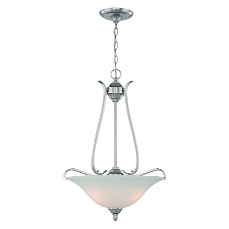 Craftmade Three Light Brushed Nickel Frost White Glass Up Pendant
