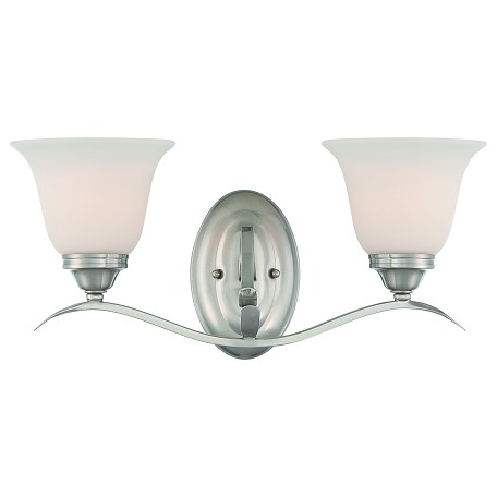 Craftmade Two Light Brushed Nickel Frost White Glass Vanity
