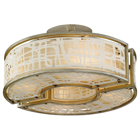 Corbett Four Light Silver Leaf Drum Shade Semi-Flush Mount