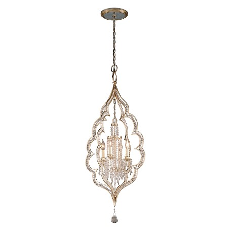 Corbett Silver Leaf / Antique Mist Bijoux 4 Light 1 Tier Chandelier