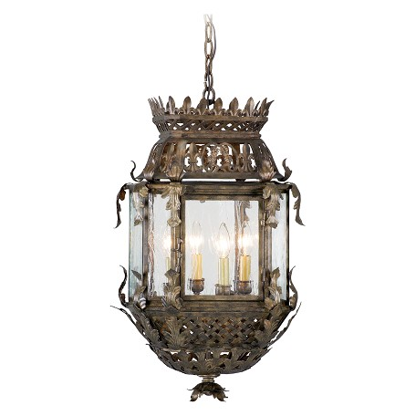 Corbett Four Light Montrachet Bronze Framed Glass Foyer Hall Fixture