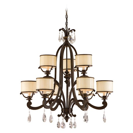 Corbett Classic Bronze Nine Light Mid-Sized Chandelier From The Roma Collection