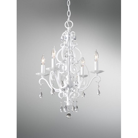 Feiss Four Light Semi Gloss White Up Chandelier
