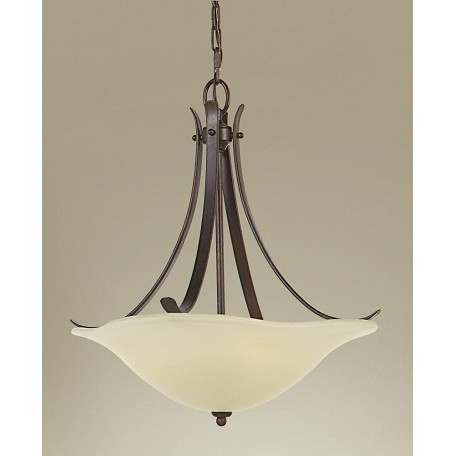 Feiss Three Light Grecian Bronze Cream Snow Glass Up Pendant