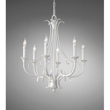 Feiss Six Light Semi Gloss White Up Chandelier