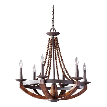 Feiss Six Light Rustic IronBurnished Wood Up Chandelier Rustic – Murray Feiss Chandeliers