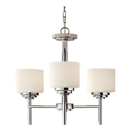 Feiss Three Light Polished Nickel White Opal Etched Glass Up Chandelier