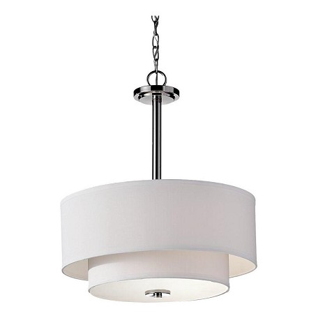 Feiss Three Light Polished Nickel Drum Shade Pendant