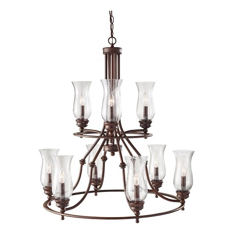Feiss Nine Light Heritage Bronze Clear Seeded Glass Up Chandelier