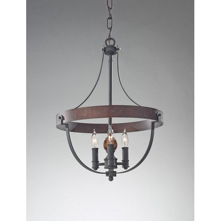 Feiss Three Light Af/Charcoal Brick/Acorn Up Chandelier