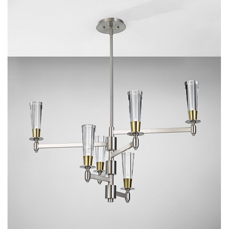 Feiss Six Light Brushed Nickel/Natural Brass Clear Crystal Glass Up Chandeli
