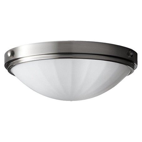 Feiss Two Light Brushed Steel White Opal Etch Glass Bowl Flush Mount