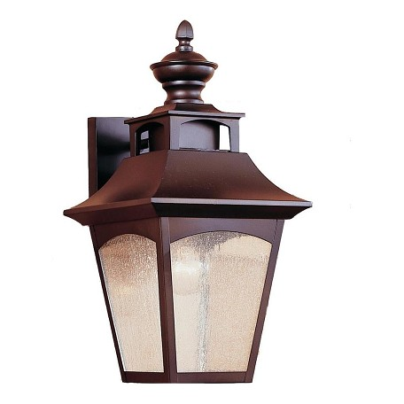 Feiss One Light Oil Rubbed Bronze Seeded Glass Wall Lantern