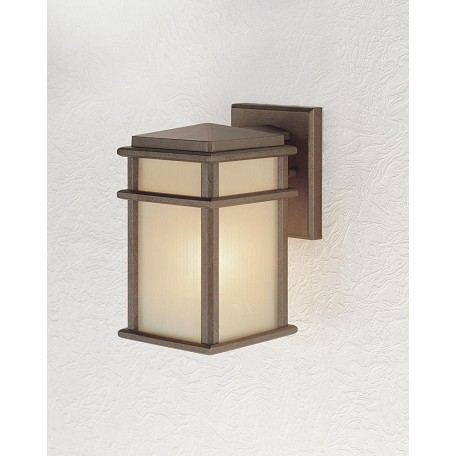 Feiss One Light Corinthian Bronze Amber Ribbed Glass Wall Lantern