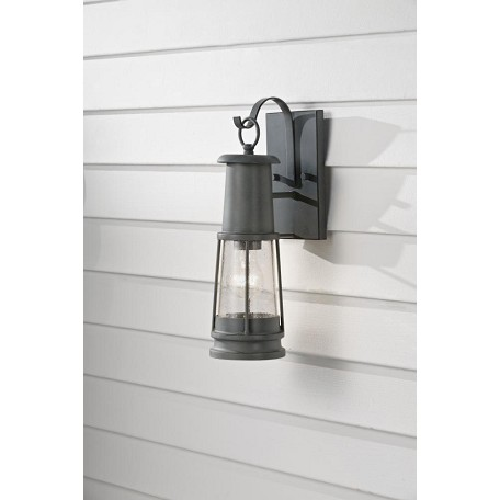 Feiss One Light Storm Cloud Clear Seeded Glass Wall Lantern