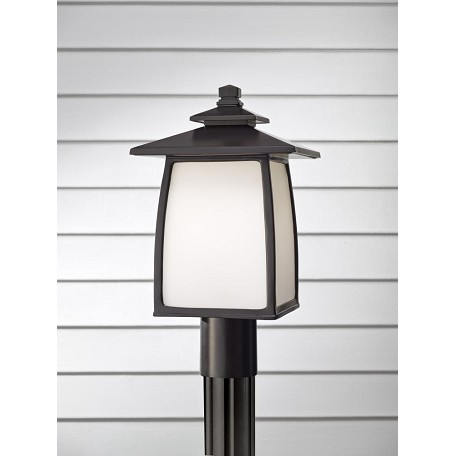 Feiss One Light Oil Rubbed Bronze White Opal Etched Glass Post Light