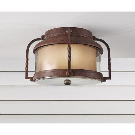 Feiss Two Light Clear Glass Cinnamon Outdoor Flush Mount