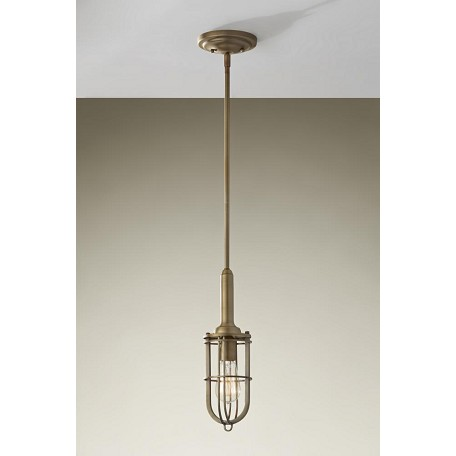 Feiss One Light Dark Antique Brass Down Mini Pendant