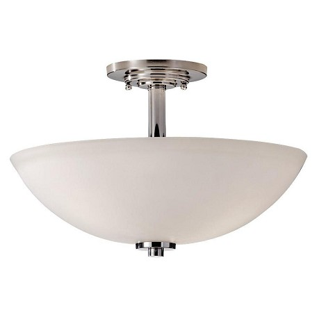 Feiss Three Light Polished Nickel Opal Etched Glass Bowl Semi-Flush Mount