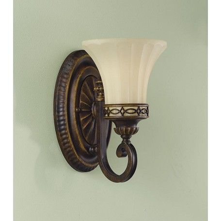 Feiss One Light Walnut English Scarvo Glass Bathroom Sconce