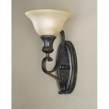 Feiss One Light Liberty Bronze Frost Amber Glass Wall Light