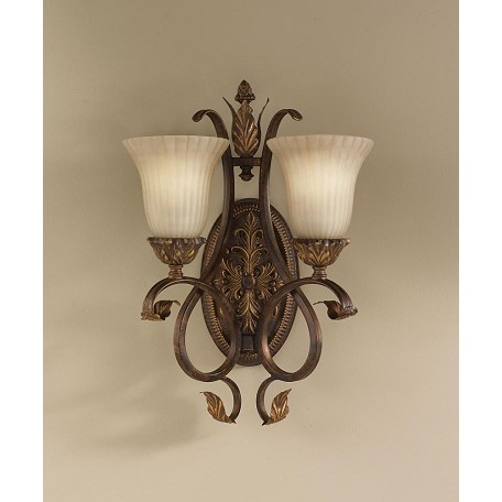 Feiss Two Light Aged Tortoise Shell French Scarvo Glass Wall Light