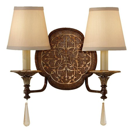 Feiss Two Light British Bronze/Oxidized Bronze Beige Hardback W/Fabric Shade