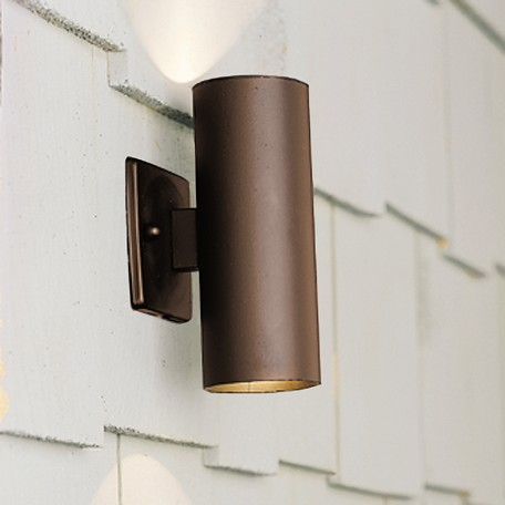 Kichler Landscape Two Light Textured Architectural Bronze Outdoor Wall Light