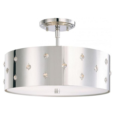 Minka George Kovacs Chrome 3 Light Semi-Flush Ceiling Fixture from the Bling Bling Collection