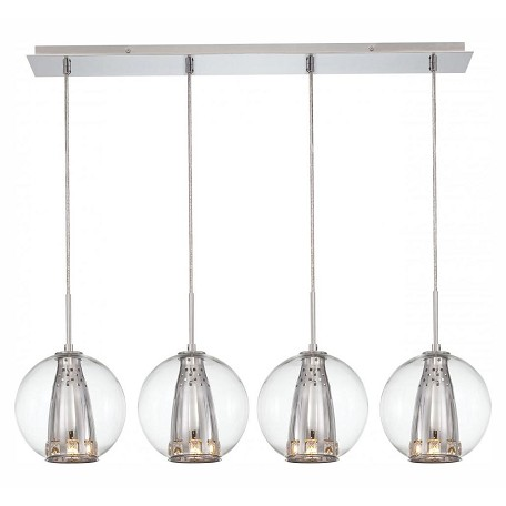 Minka George Kovacs Chrome 4 Light Linear Pendant in Chrome from the Bling Bang Collection