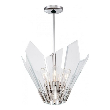 Minka George Kovacs Polished Nickel 5 Light Full Sized Pendant from the Glassy Collection
