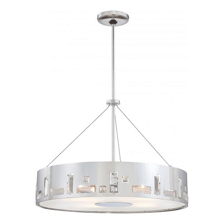 Minka George Kovacs Chrome 5 Light Drum Pendant In Chrome from the Bling Bang Collection