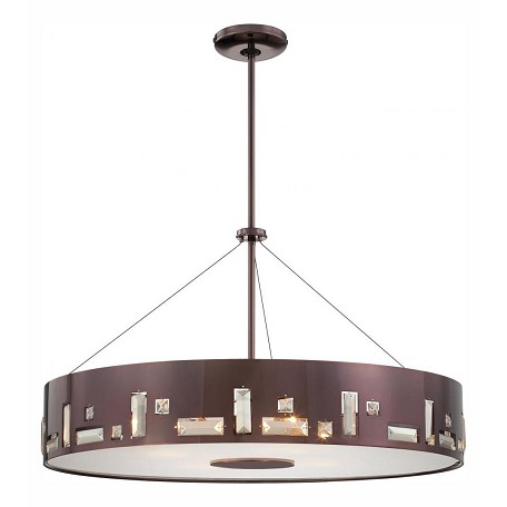 Minka George Kovacs Six Light Chocolate Chrome  Drum Shade Pendant