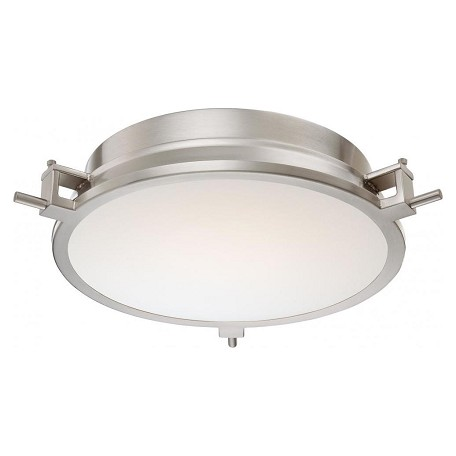 Minka George Kovacs 96 Light Brushed Nickel Clear Inside White Glass Drum Shade