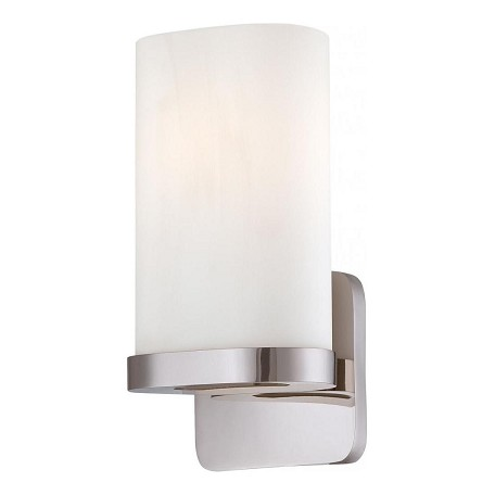 Minka George Kovacs One Light Polished Nickel Ethced Opal Glass Wall Light