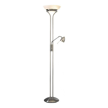 Minka George Kovacs 2 Light Brushed Nickel Etched Opal With Glass Floor Lamp