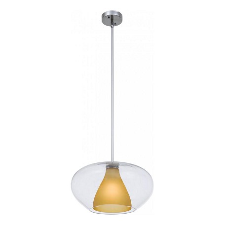 Minka George Kovacs 1 Light Chrome With Amber Glass Down Pendant