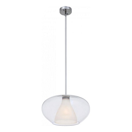 Minka George Kovacs One Light Chrome Clear With White Frosted Glass Down Pendant