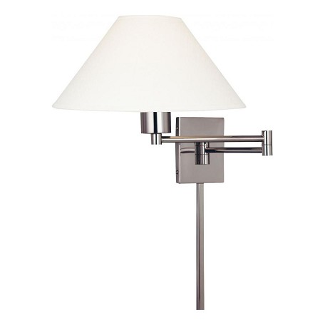 Minka George Kovacs One Light Matte Brushed Nickel Shade  - Stretched Oyster Linen Wall Li